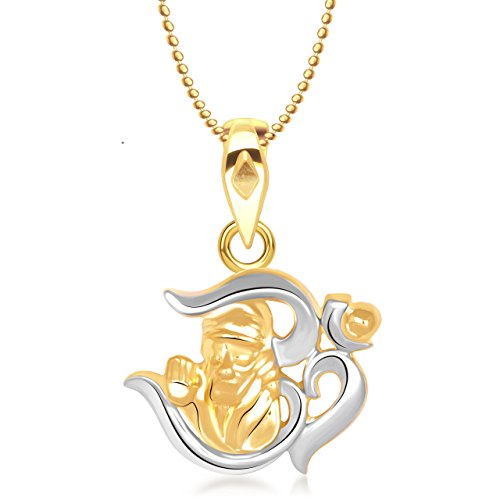 Meenaz Sai Baba Religious God Pendant Gold Plated Cz In American Diamond With Chain For Man & Women,Girls Gp168  available at amazon for Rs.269