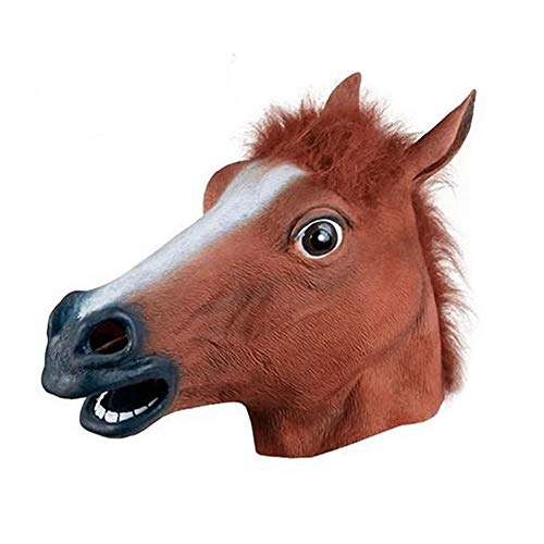 e Pferdekopf Masken Vollkopf Fell Mane Latex Creepy Tier Maske Für Halloween Party Kostüm Requisiten ()