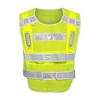 YuanYu Reflective Vest, Flashing Light Bead Reflective Vest Work Safety Clothing LED Mesh Reflective Clothing Reflective vests (Size : A)
