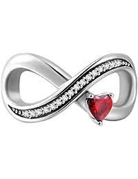 SOUFEEL Charms Beads mit Rot Herz Kristall Unendliche Liebe Charm 925 Sterling Silber für Armband und Halsktette