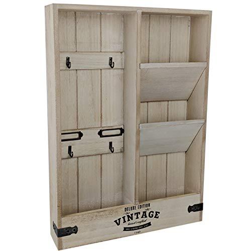 er Schlüsselbrett Holz mit Ablage Briefablage Wand Schlüsselboard Vintage Wandboard (Holz) ()