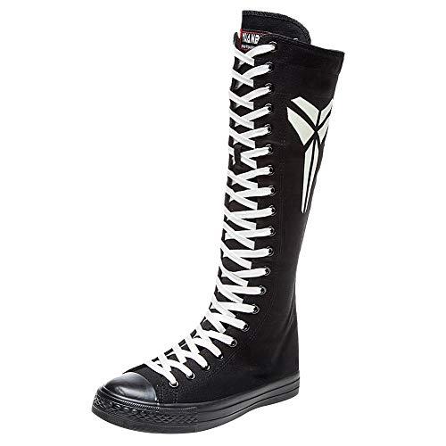 n Modisch Knie Hoch Schnüren Segeltuch Stiefel Rein Schwarz Leinenschuhe Reißverschluss Tanzschuhe Fluoreszierend SN814 EU42 ()