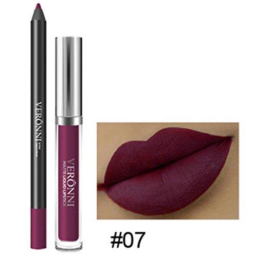 Rouge à Lèvres, Tefamore Longue Durée de Rouge à Lèvres Imperméable à L'eau Mat Liquide Gloss Lip Liner Set de cosmétiques (7#)