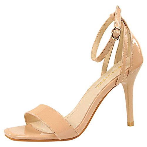 Oasap Women's Peep Toe Ankle Strap High Heels Office Sandals Nude