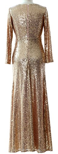 MACloth Women Long Sleeves V Neck Sequin Evening Dress Wedding Party Formal Gown Rose Gold