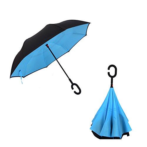 Cloud-Castle Ombrello Inverso Innovativo C Forma con meccanismo di apertura riverso invertito utilissimo in caso di pioggia rovesciato, anti-UV e ombrelloni e la pioggia, le migliori compatto da viaggio Ombrello per l'auto (Blu)