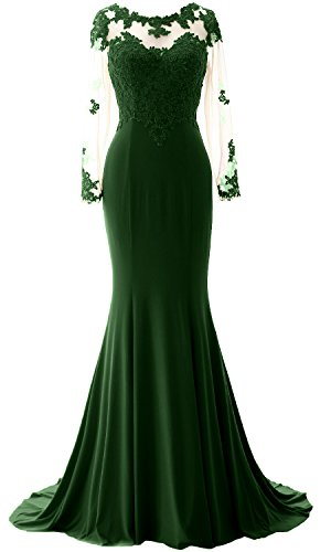 MACloth Elegant Mermaid Long Sleeve Prom Dress Jersey Wedding Party Formal Gown (38, Dunkelgrun) (Top Sweetheart Neck)