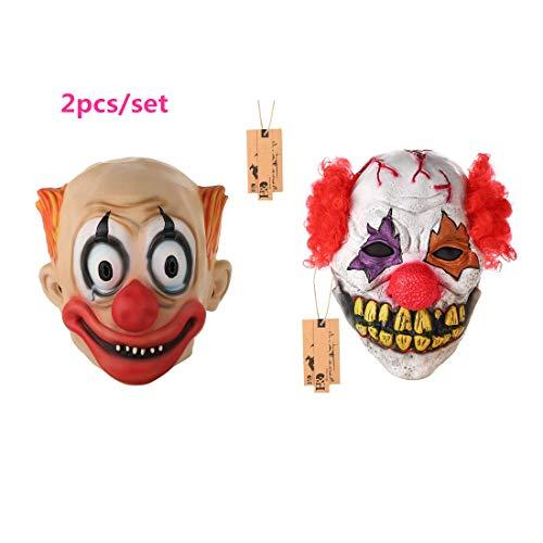 Hyalinität & Dora Halloween Latex Clown Maske mit Haar für Erwachsene, Halloween-Kostüm Party Requisiten Masken mit 1zufällige Maske Geschenk