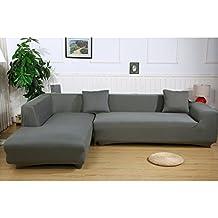 Ele ELEOPTION Sofa Überwürfe Elastische Stretch Sofa Bezug 2er Set 3 Sitzer  Für L Form Sofa