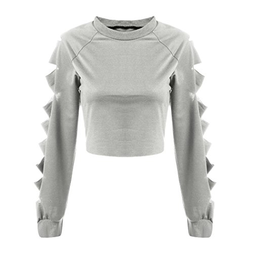 ZEARO Sexy Damen Crop Top Pullover Sweater Langarm Cut off Sleeve Bluse Clubwear Kurz Tops Grau
