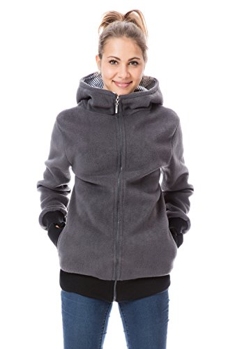 GoFuture Damen Umstandsjacke Hallå 4in1 Fleece mit Hochkragen GF2307XA4 Graphit mit marineweißen Streifen Gr. 40