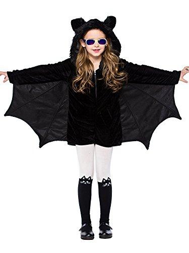 FStory&Winyee Eltern-Kind Outfit Kleider Cosplay Halloween Fest Kinder Fledermaus Kostüm Vampir Kostüm Schwarz Damen Karneval Party Verkleidung