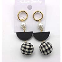 Pearl wood geometric plaid hair ball pendant retro temperament personality fashion simple earrings
