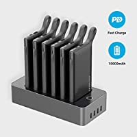 Powerology 6 in 1 Power Bank Station 10000mAh With Built-in Cable, Portable Power Bank and 1 Rapid Recharging Station Compatible iPhone Devices, Android Devices, Type C Charging Ports - Black