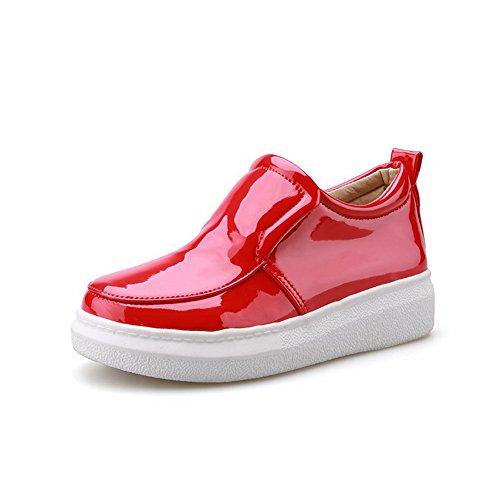 AllhqFashion Damen Ziehen Auf Quadratisch Zehe Niedriger Absatz Pu Leder Rein Pumps Schuhe Weiß