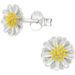 Tata Gisele - Pendientes de plata rodiada 925/1000, diseño de flor plateada con corazón amarillo y margarita, 7 mm