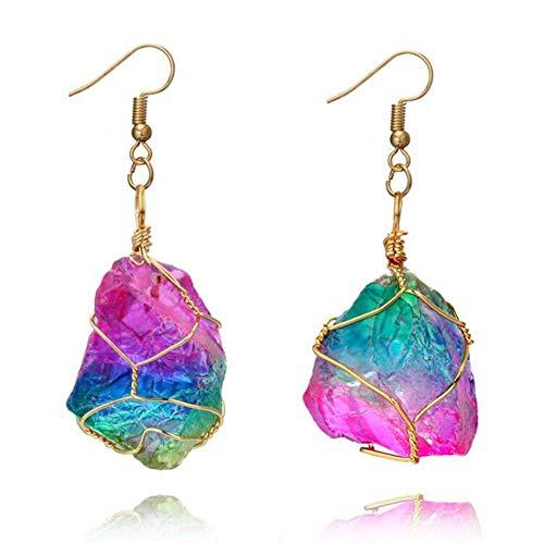 Yunhigh fluorite arcobaleno ciondolo orecchino con filo avvolto irregolare quarzo grezzo pietra preziosa cristallo guarigione pietra naturale unico orecchino goccia