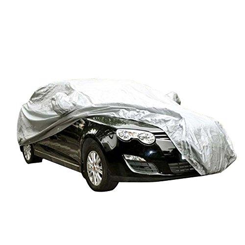 logei® Autogarage Ganzgarage Abdeckung Garage Abdeckplane Autoplane wasserdicht spezielles Cover für Rückspiegel, 415 x 170 x 150cm, Silber