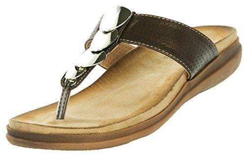 Beppi Damen Sandalen Sommer | Zehentrenner mit Komfortsohle Bequem | Freizeitschuhe Modeschuhe Badeschuhe Modisch | Braun | Größe 39