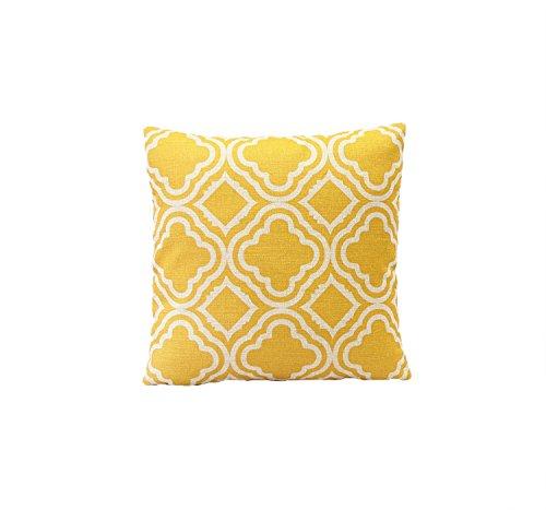Kissenhülle Frühlingsgefühl Motive Leinen Kissenbezug für Dekokissen Sofakissen Bettkissen Rückenkissen Auto Kissen (Gelb Geometrische Muster)