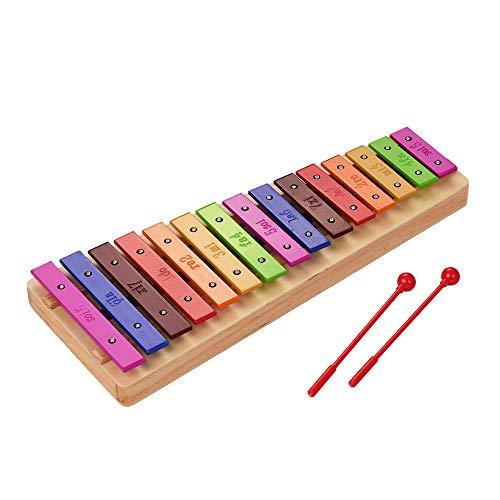 Muslady Glockenspiel Groß 15-Note Xylophon Holzsockel Bunt Aluminiumstangen mit Mallets Percussion Musikinstrument Spielzeug Geschenk zum Kinder