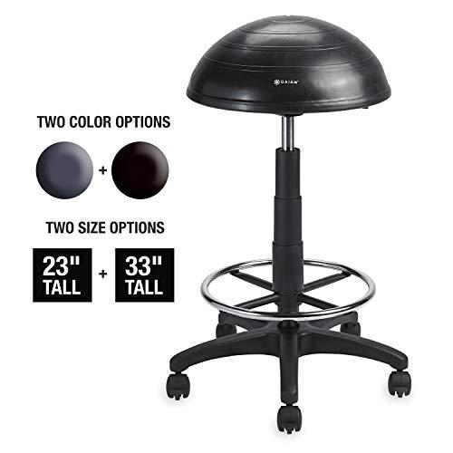 Gaiam Balance Ballstuhl, halb-kuppelförmig, Verstellbarer Drehstuhl für Steh- und Sitztische Schreibtische im Haus, Büro oder Klassenzimmer (Zufriedenheitsgarantie), Balance Ball, schwarz, 33