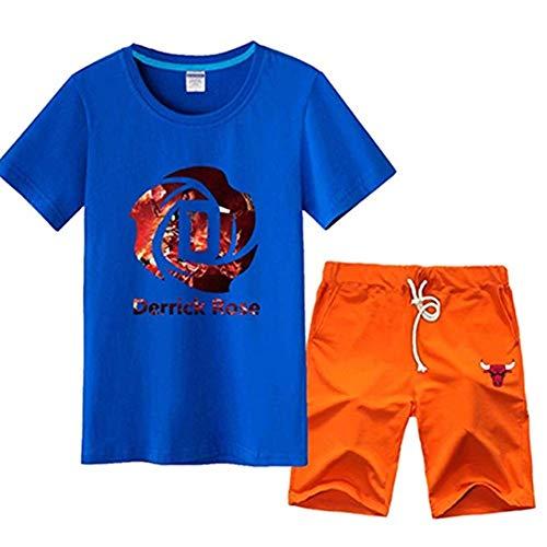 Shelfin Herren Trikot New Age Herren NBA Basketball T-Shirt Set Kurzarm Chicago Bulls Derrick Rose # 1 Basketball Jersey Sport T-Shirt Trainingsanzug T-Shirt (Color : Blue5, Size : S) (Derrick Rose Logo Shirt)