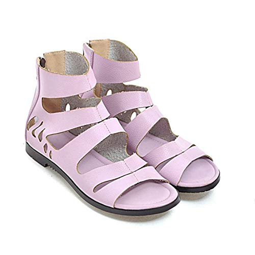 MENGLTX High Heels Sandalen Plus Super Big & Small Größe 28-52 Sandalen Sommer Stil Frauen Open Toe Low Heels Schuhe Zipper Woman 14 Lavender