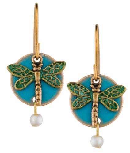 Libelle goldfarbene Ohrringe Tropfen von Silber Forest von Vermont blau Emaille Schicht Perle Handgefertigt in den USA ne-008