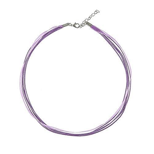 Alpenklinker Kette Chiffon DIY Halsband viele Farben zu jedem Dirndl passend schmuckrausch Farbe Flieder