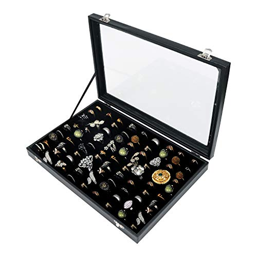 Ring Box (Contain Up to 70 Rings) - Jewelry Box (35 x 24 x 3cm) - Organizer Rings with Clear Acrylic Lid - Ring Display