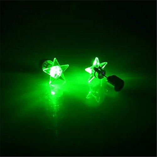 LI&HI LED Leuchtpentagramm Ohrringe des Trends der Paare Halloween Weihnachten Geschenkartikel
