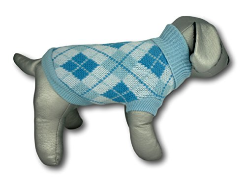 Cara Mia Dogwear Light Blue Argyle Knitted Dog Jumper Sweater (teacup to small breed dogs) 1