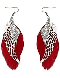 Damen Ohrringe Schmuck Ohrstecker Stecker DAY.LIN Engel Metall Flügel  böhmischen handgemachte Vintage Feder lange f1c5ce8701