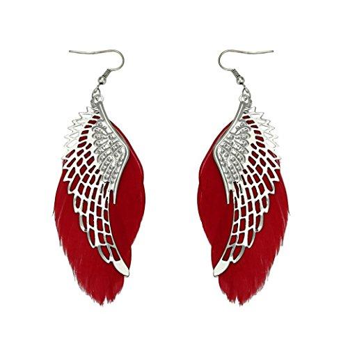 Damen Ohrringe Schmuck Ohrstecker Stecker DAY.LIN Engel Metall Flügel böhmischen handgemachte Vintage Feder lange Ohrringe (Rot)