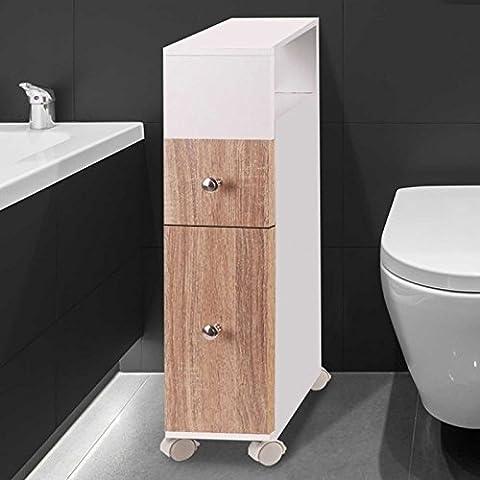 Etagere Melamine Hetre - IDMarket - Meuble rangement WC sur roulettes