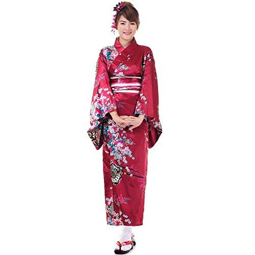 Japanischer Geisha Kimono Sakura Weinrot Satin One Size - 2