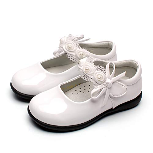 Aegilmc Girls Touch Fastening School Shoes, Patent Velcro Fashion Mary Jane Flat Shoes Trainers Kids Pearl Bow Lace,White,2.0US -