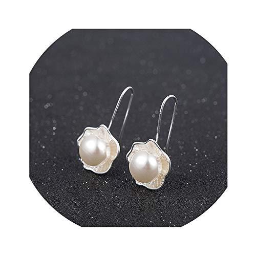 Silber-Perlen-Blumen-Ohrring-Frauen-Mode-Ohr-Haken-Bolzen-Ohrringe Schmuck Mutter Geschenke Neuheiten für Frauen Herstellung von Schmuck Accessorie, ED487
