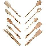 Uulki® Ensemble d'Ustensiles de Cuisine Écologique en Hêtre d'Ardenne 10 pièces (cuillères, retourneurs, spatules, pince barbecue, couverts à salad en bois)