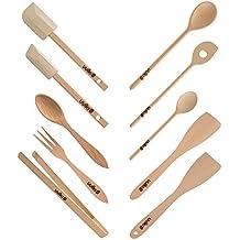 Set de 10 utensilios de cocina ecológicos de madera de haya de las Ardenas Uulki® (cucharas de cocina, espátula para girar, pinzas de alimentos...)