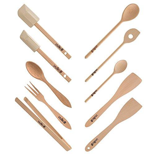 Set de 10 utensilios de cocina ecológicos de madera de haya de las Ardenas Uulki® cucharas de cocina...