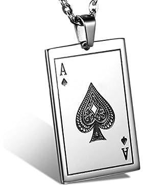 MESE London Ace Of Spades Halskette Edelstahl-Silber-Kette Männer Poker Anhänger - Elegante Geschenkbox