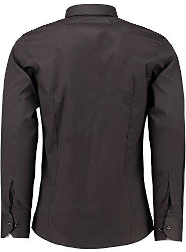 Herren-Hemd – Slim Fit – Bügelfrei / Bügelleicht – Für Business Freizeit Hochzeit – J'S FASHION - Schwarz - M