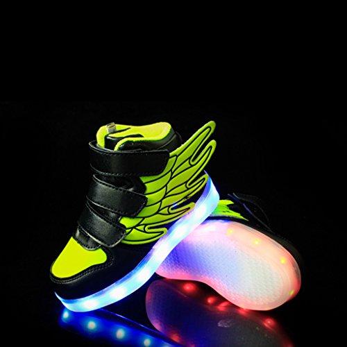 DoGeek 7 Farbe USB Aufladen LED Schuhe Leuchtend Sportschuhe Led Sneaker Turnschuhe Jungen Gr¨¹N