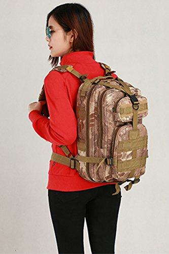 Bai Sie Mei Multifunktionale Camouflage Schultern Tasche, Outdoor Bergsteigen Rucksack, Mehrzweck Daypacks, Rucksack, Tactical Military Sportpack, Camping Wandern und Angeln 25L Pattern03