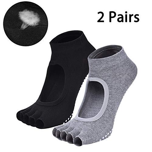 iClosam 2 paia di calze da yoga antiscivolo per pilates balletto Donna Schwarz e Grau