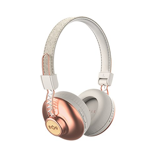 House of Marley Positive Vibration 2 Wireless - Bluetooth On-Ear Headphones Noise Isolating Premium Sound 50mm Drivers Integrated Mic USB Charging Enhanced 10hrs Battery Life - Copper