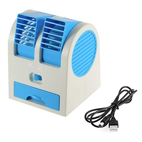 Brezzycloud Mini Portable Dual Bladeless Air Cooling USB Desktop Fan (Multi Color)