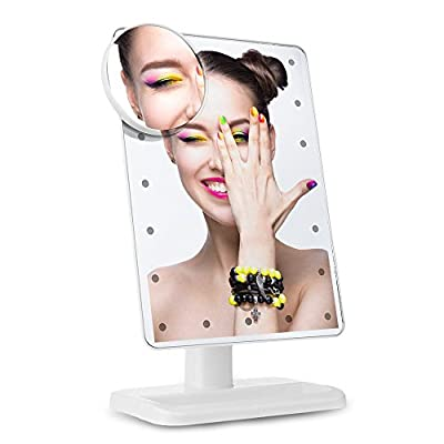 LED Makeup Mirror with 20 Dimmable LEDs, Touch Screen Dimming Vanity Mirror, Illuminated Cosmetic Mirror with Detachable 10X Magnification Spot, Bi-direction Rotatable Compact Mirror for Shaving, Dressing, Grooming
